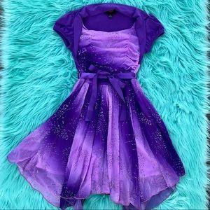 IZ Byer Girl Purple Party Dress Size 8